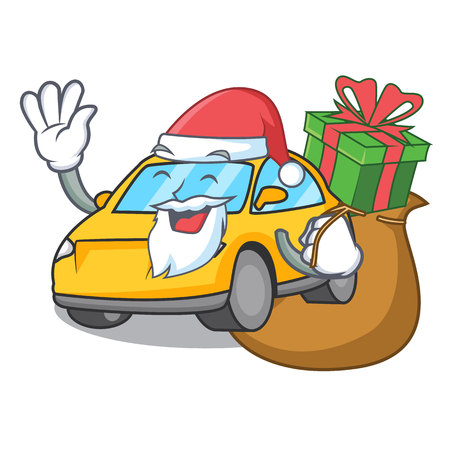 Santa with gift taxi character mascot style vector illustration