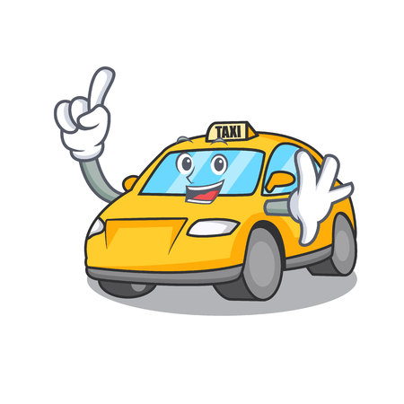 Finger taxi character mascot style vector illustration