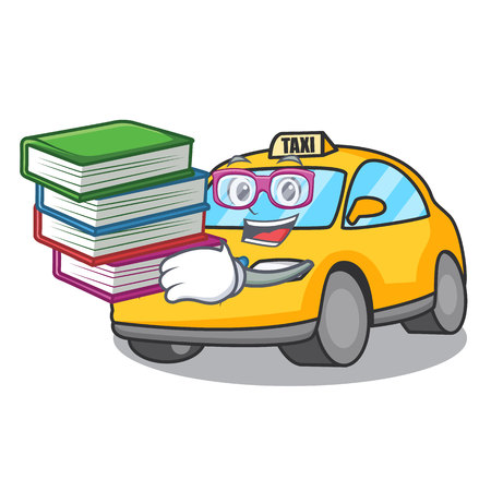 Student with book taxi character mascot style vector illustration