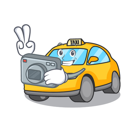 Photographer taxi character mascot style vector illustration
