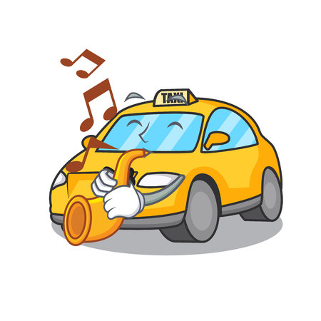With trumpet taxi character mascot style vector illustration