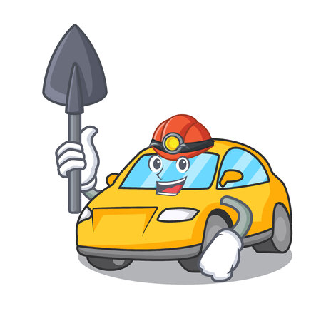 Miner taxi character mascot style vector illustration Vettoriali