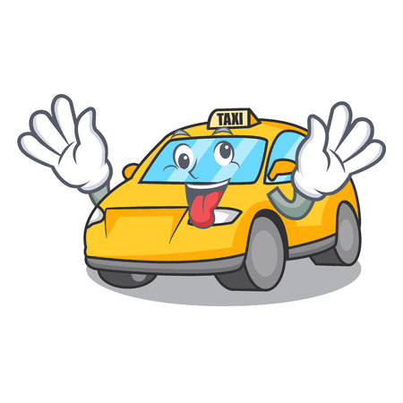 Crazy taxi character mascot style vector illustration