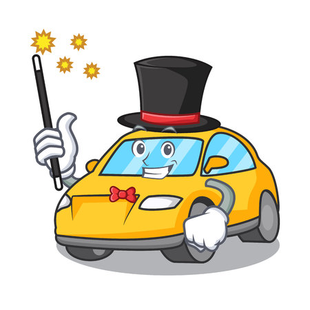 Magician taxi character mascot style vector illustration
