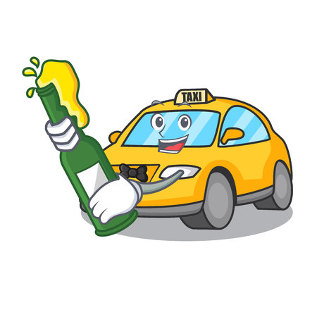 With beer taxi character mascot style vector illustration