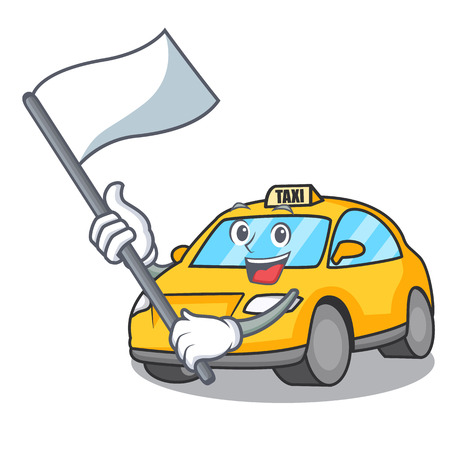 With flag taxi character mascot style vector illustration