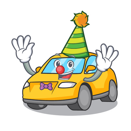 Clown taxi character mascot style vector illustration