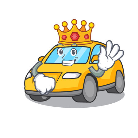 King taxi character mascot style vector illustration Illustration