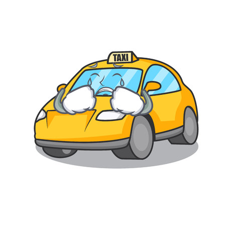 Crying taxi character mascot style vector illustration Çizim