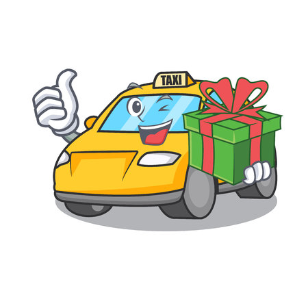 With gift taxi character mascot style vector illustration Illustration