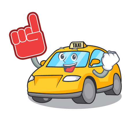 Foam finger taxi character mascot style vector illustration