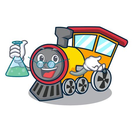 Professor train character cartoon style Illustration