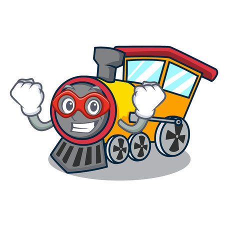 Super hero train character cartoon style Stock Illustratie