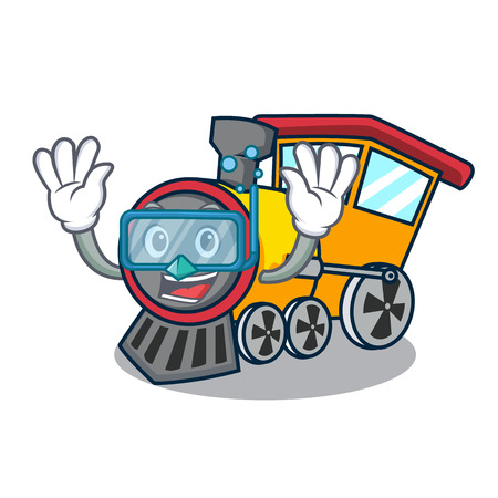 Diving train character cartoon style