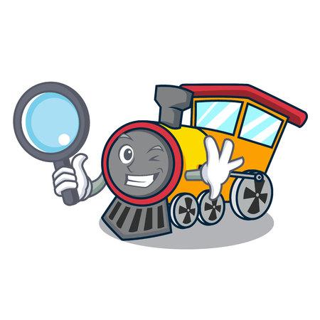 Detective train character cartoon style Stock Illustratie