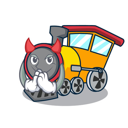 Devil train mascot cartoon style vector illustration Ilustração