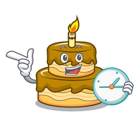 With clock birthday cake character cartoon vector illustration Illustration
