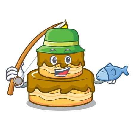 Fishing birthday cake mascot cartoon vector illustration