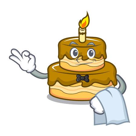 Waiter birthday cake mascot cartoon vector illustration Ilustração