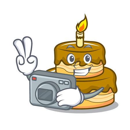 Photographer birthday cake mascot cartoon vector illustration Illustration