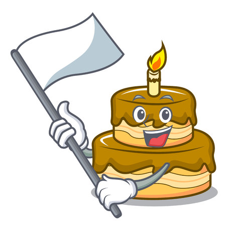 With flag birthday cake mascot cartoon vector illustration
