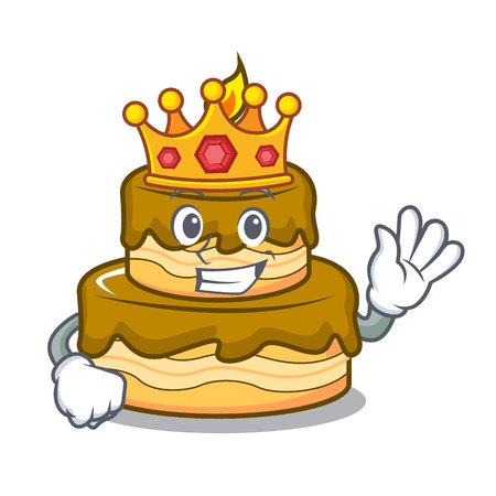 King birthday cake mascot cartoon vector illustration
