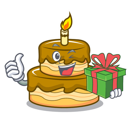 With gift birthday cake mascot cartoon vector illustration