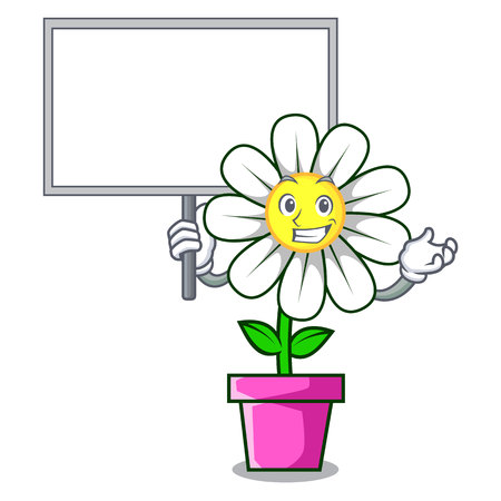 Bring board daisy flower character cartoon Illustration