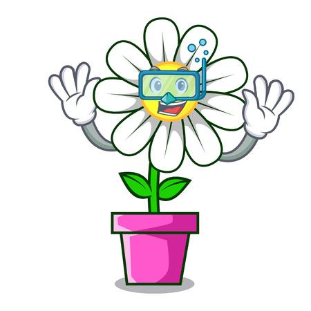 Diving daisy flower character cartoon