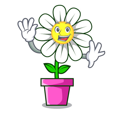 Waving daisy flower character cartoon