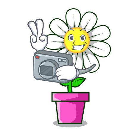 Photographer daisy flower mascot cartoon Illustration
