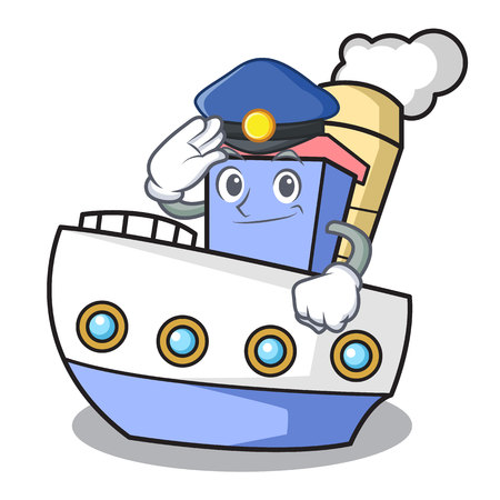 Police ship character cartoon style Illustration