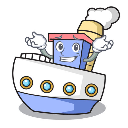 Grinning ship character cartoon style
