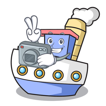 Photographer ship mascot cartoon style