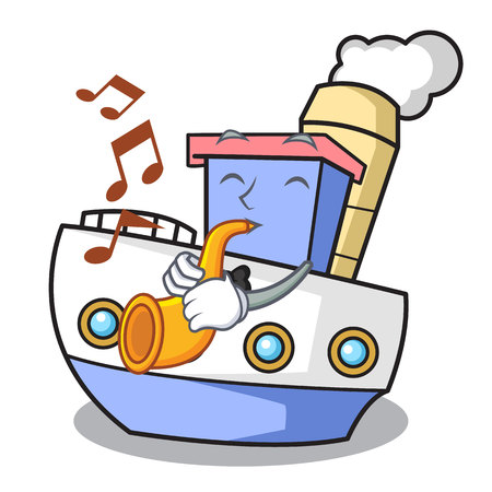With trumpet ship mascot cartoon style