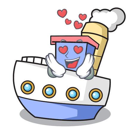 In love ship mascot cartoon style