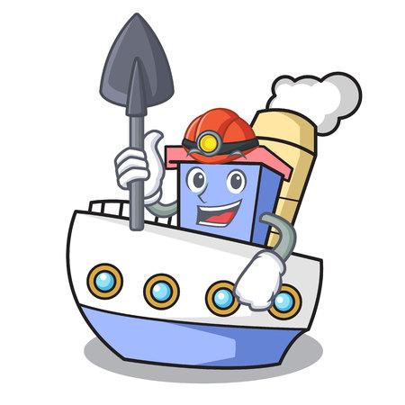 Miner ship mascot cartoon style