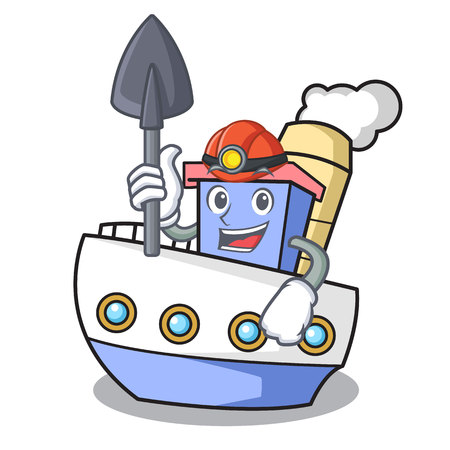 Miner ship mascot cartoon style