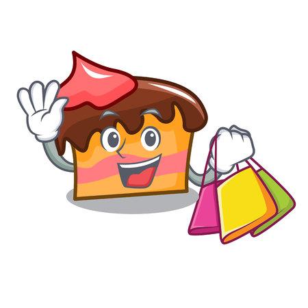 Shopping sponge cake character cartoon vector illustration