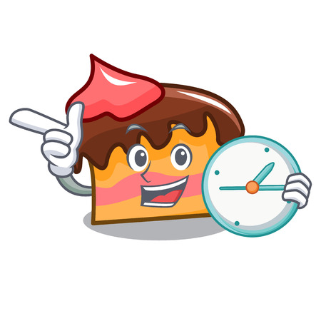 With clock sponge cake character cartoon vector illustration