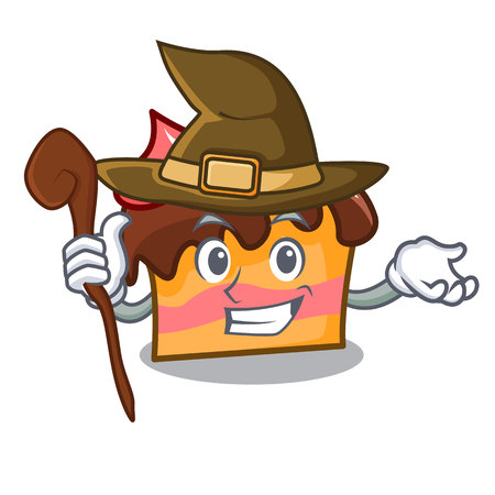 Witch sponge cake mascot cartoon vector illustration