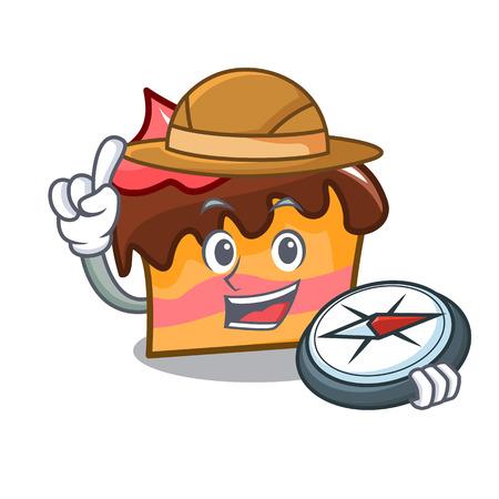 Explorer sponge cake mascot cartoon vector illustration