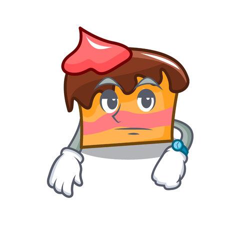 Waiting sponge cake mascot cartoon vector illustration Vectores
