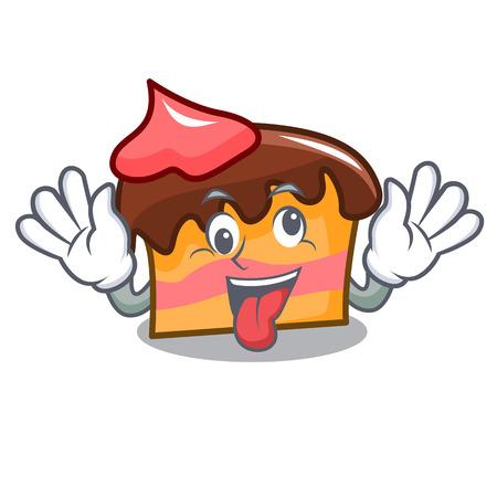 Crazy sponge cake mascot cartoon vector illustration