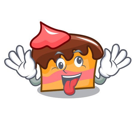 Crazy sponge cake mascot cartoon vector illustration