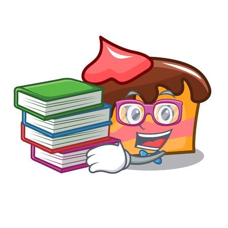 Student with book sponge cake mascot cartoon vector illustration Illustration