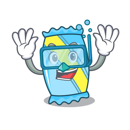 Diving candy character cartoon style
