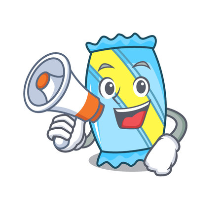 With megaphone candy character cartoon style