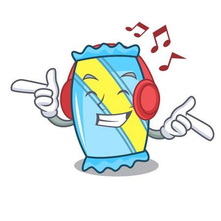 Listening music candy mascot cartoon style Ilustracja