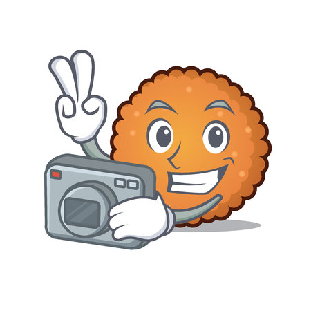 Photographer cookies mascot cartoon style Illustration